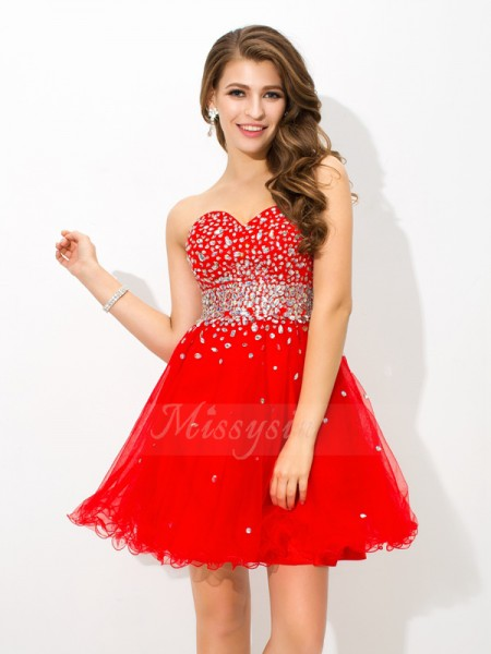 A-Line/Princess Sweetheart Sleeveless Organza Short/Mini Beading Dresses