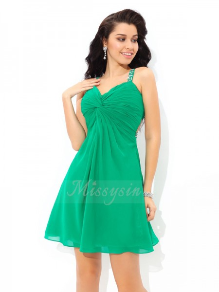 A-Line/Princess Straps Sleeveless Chiffon Short/Mini Pleats Dresses