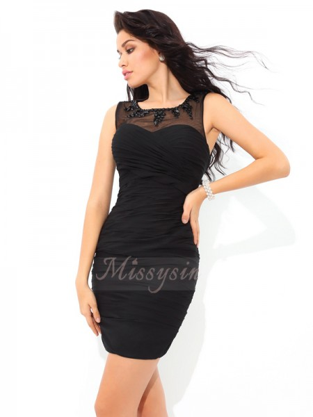 Sheath/Column Sheer Neck Sleeveless Chiffon Short/Mini Pleats Dresses