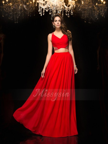A-Line/Princess V-neck Sleeveless Chiffon Floor-Length Beading Dresses