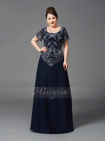 A-Line/Princess Square Short Sleeves Chiffon Floor-Length Mother of the Bride Plus Size Dresses