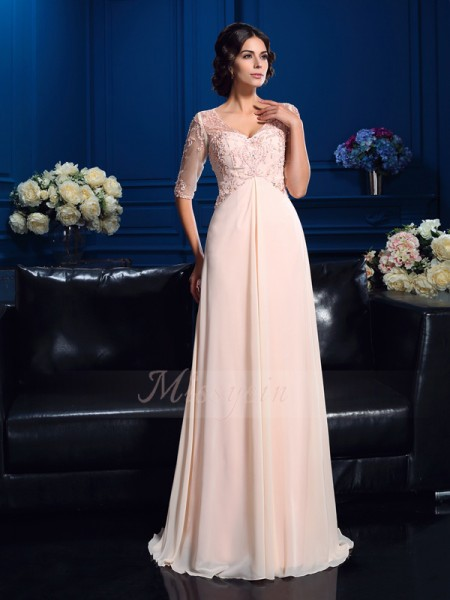 A-Line/Princess V-neck 1/2 Sleeves Chiffon Sweep/Brush Train Beading Mother of the Bride Dresses