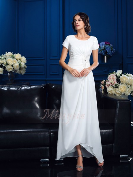 A-Line/Princess Scoop Short Sleeves Chiffon Asymmetrical Mother of the Bride Dresses