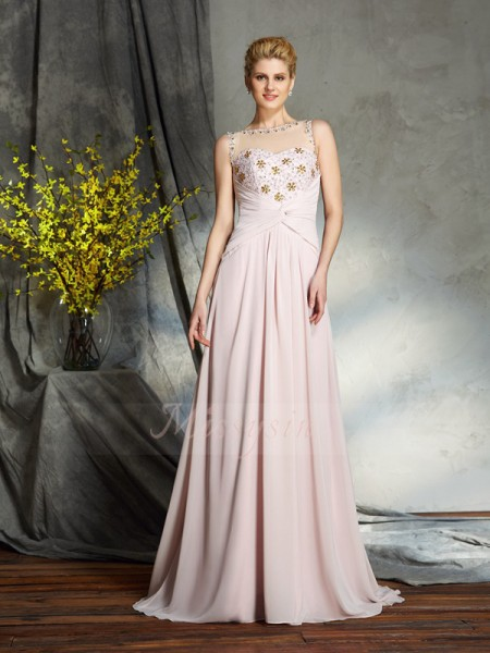 A-Line/Princess Bateau Sleeveless Chiffon Sweep/Brush Train Applique Mother of the Bride Dresses