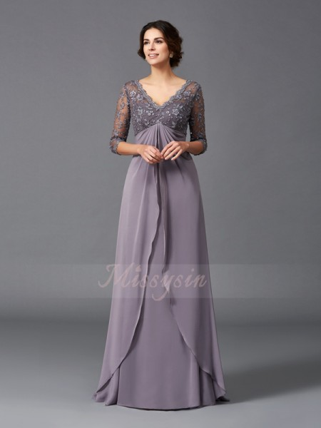 A-Line/Princess V-neck 3/4 Sleeves Chiffon Floor-Length Mother of the Bride Dresses