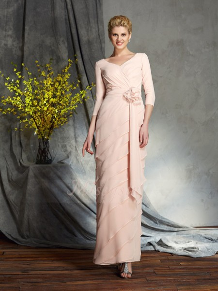 Sheath/Column V-neck 3/4 Sleeves Chiffon Floor-Length Hand-Made Flower Mother of the Bride Dresses