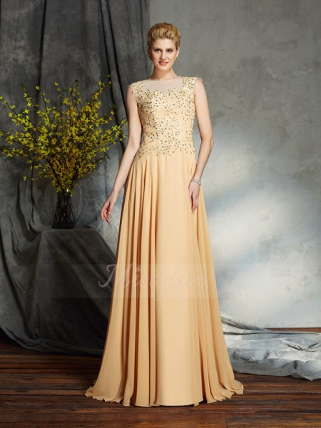 A-Line/Princess Scoop Sleeveless Chiffon Floor-Length Applique Mother of the Bride Dresses