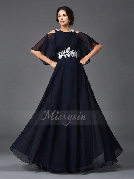 A-Line/Princess Straps 1/2 Sleeves Chiffon Floor-Length Applique Mother of the Bride Dresses