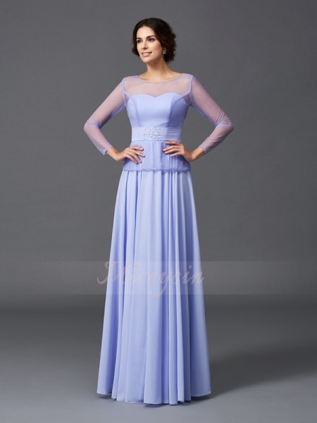A-Line/Princess Scoop Long Sleeves Chiffon Floor-Length Ruffles Mother of the Bride Dresses