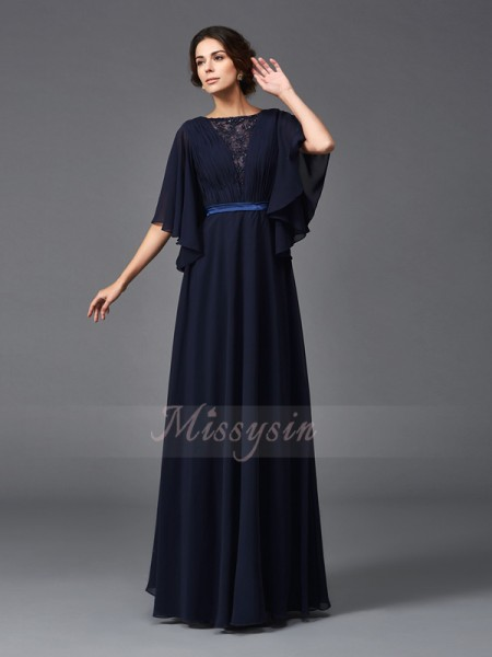A-Line/Princess Scoop 1/2 Sleeves Chiffon Floor-Length Beading Mother of the Bride Dresses