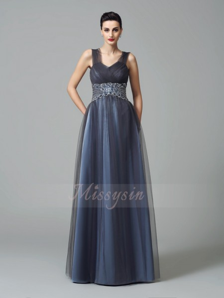 A-Line/Princess Straps Sleeveless Net Floor-Length Beading Mother of the Bride Dresses