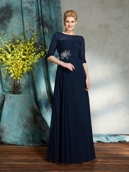 A-Line/Princess Bateau 1/2 Sleeves Chiffon Floor-Length Beading Mother of the Bride Dresses