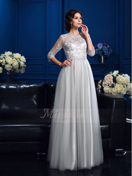A-Line/Princess Scoop 3/4 Sleeves Elastic Woven Satin Floor-Length Applique Mother of the Bride Dresses