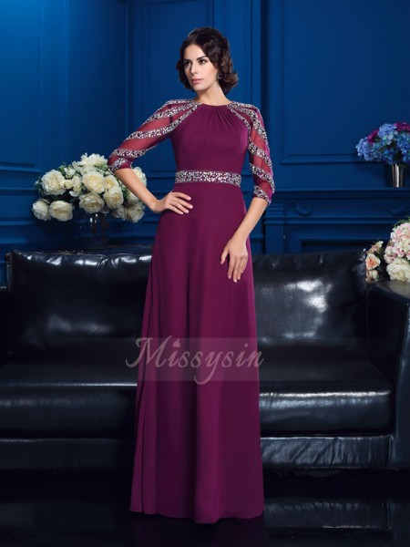 A-Line/Princess Scoop 3/4 Sleeves Chiffon Floor-Length Beading Mother of the Bride Dresses