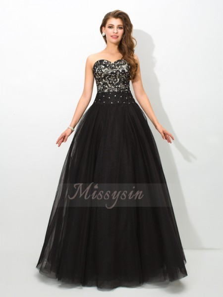 Ball Gown Sweetheart Sleeveless Net Floor-Length Dresses