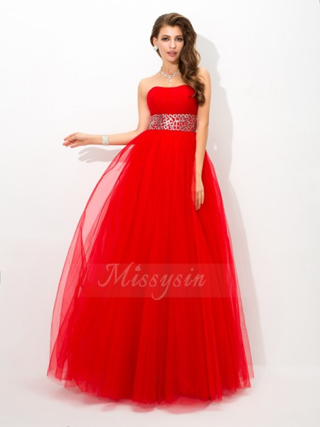 Ball Gown Strapless Sleeveless Net Floor-Length Beading Dresses