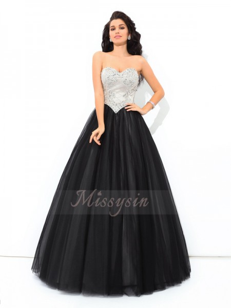 Ball Gown Sweetheart Sleeveless Net Floor-Length Paillette Quinceanera Dresses