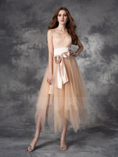 A-line/Princess Strapless Sleeveless Elastic Woven Satin Ankle-Length Bowknot Dresses