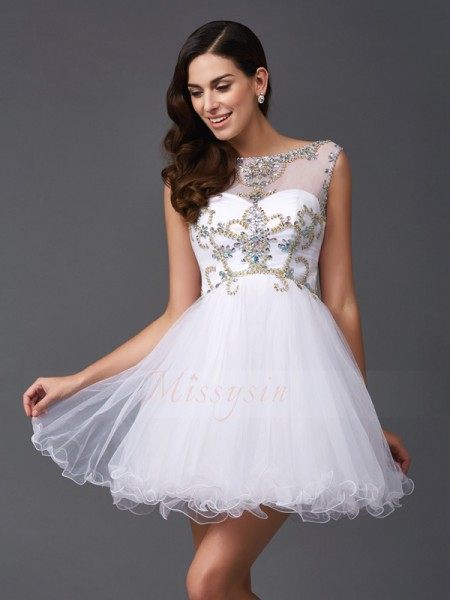 A-Line/Princess Scoop Sleeveless Net Short/Mini Beading Dresses