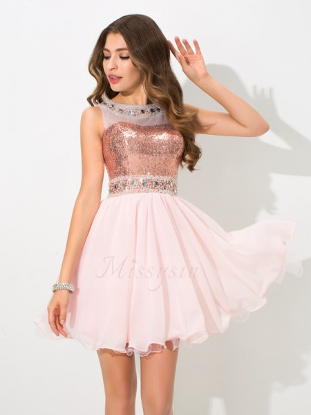 A-Line/Princess Sheer Neck Sleeveless Chiffon Short/Mini Sequin Dresses