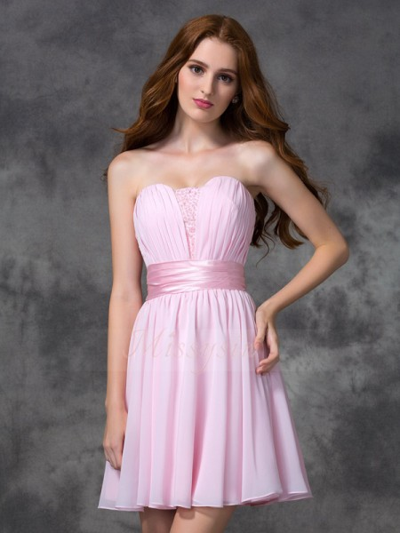 A-line/Princess Sweetheart Sleeveless Chiffon Short/Mini Ruched Dresses