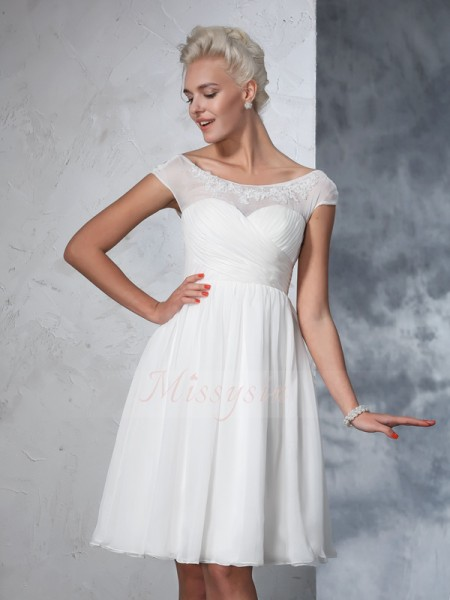 A-Line/Princess Sheer Neck Short Sleeves Chiffon Knee-Length Ruched Wedding Dresses