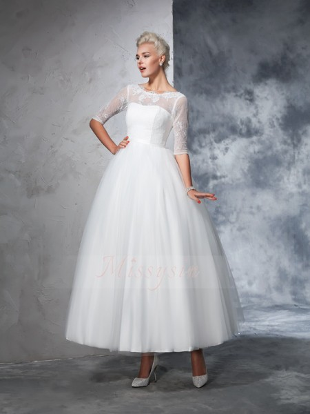 Ball Gown Bateau 1/2 Sleeves Net Ankle-Length Wedding Dresses