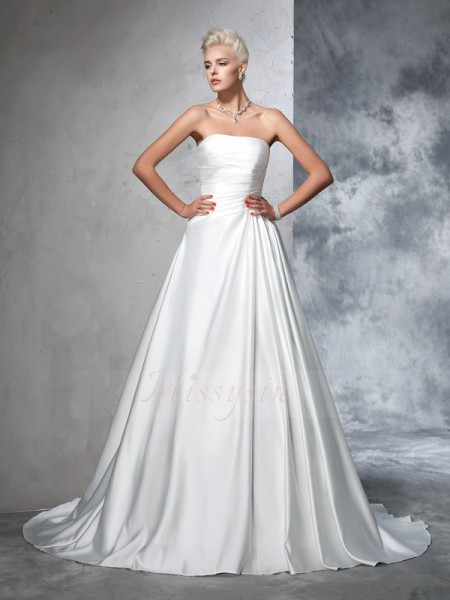 Ball Gown Strapless Sleeveless Satin Chapel Train Ruched Wedding Dresses
