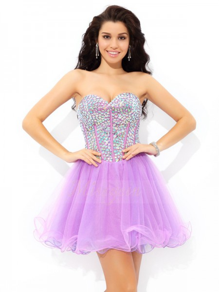 A-Line/Princess Sweetheart Sleeveless Net Short/Mini Paillette Dresses
