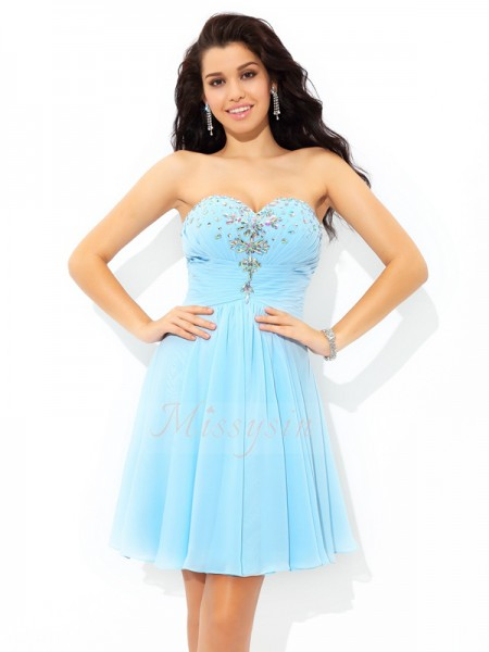 A-Line/Princess Sweetheart Sleeveless Chiffon Short/Mini Beading Dresses