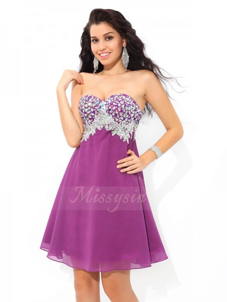 A-Line/Princess Sweetheart Sleeveless Chiffon Short/Mini Rhinestone Dresses
