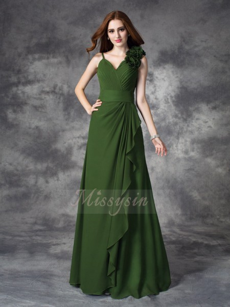 A-line/Princess V-neck Sleeveless Chiffon Floor-length Hand-Made Flower Bridesmaid Dresses