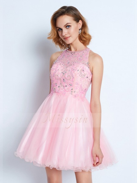 A-Line/Princess Jewel Short/Mini Net Sleeveless Ruffles Dresses