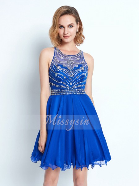 A-Line/Princess Scoop Short/Mini Chiffon Sleeveless Beading Dresses