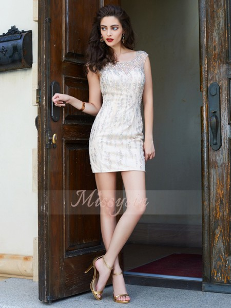 Sheath/Column Scoop Short/Mini Net Sleeveless Beading Dresses