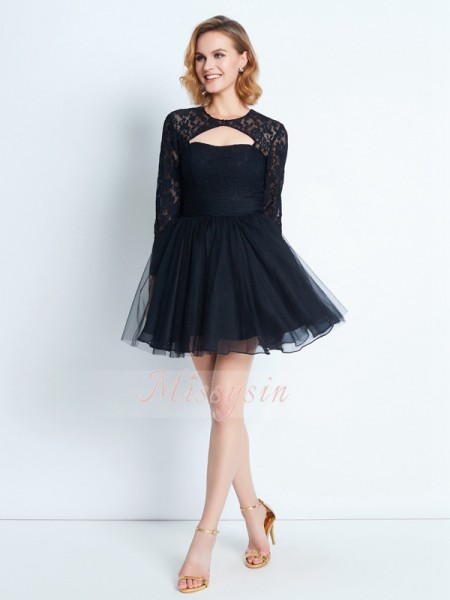 A-Line/Princess High Neck Short/Mini Net Long Sleeves Dresses
