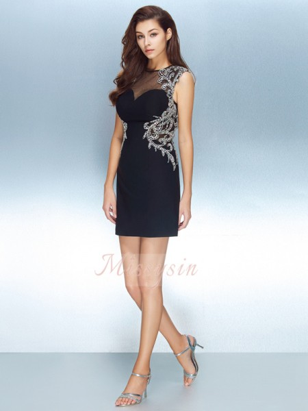 Sheath/Column Jewel Short/Mini Net Short Sleeves Crystal Dresses