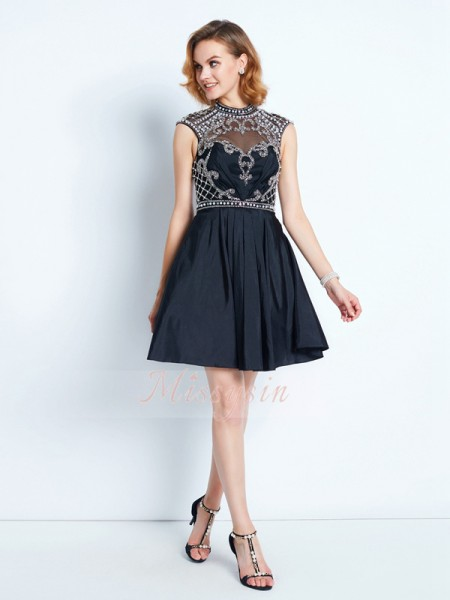 A-Line/Princess High Neck Short/Mini Satin Sleeveless Beading Dresses
