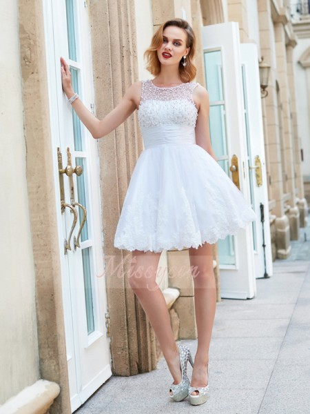 A-Line/Princess Jewel Short/Mini Lace Sleeveless Pearls Dresses