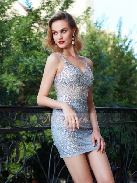 Sheath/Column Spaghetti Straps Short/Mini Net Sleeveless Sequin Dresses