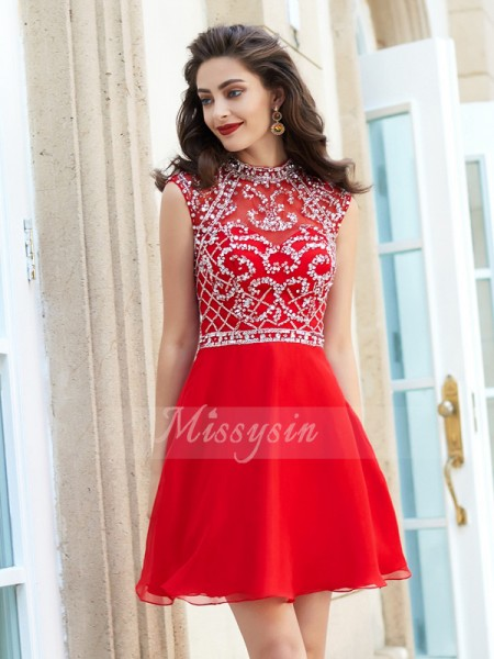 A-Line/Princess High Neck Short/Mini Chiffon Sleeveless Beading Dresses