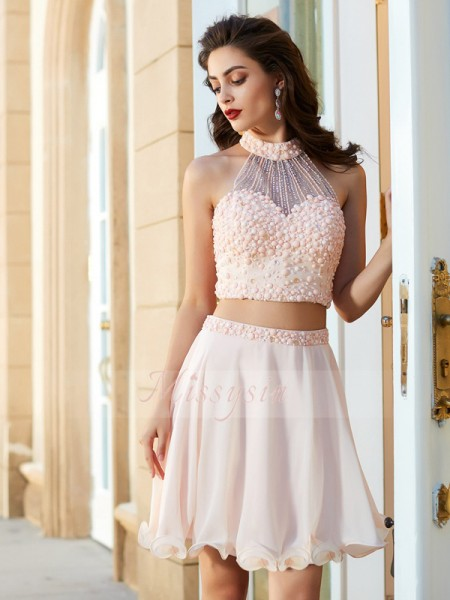 A-Line/Princess Halter Short/Mini Chiffon Sleeveless Beading Two Piece Dresses