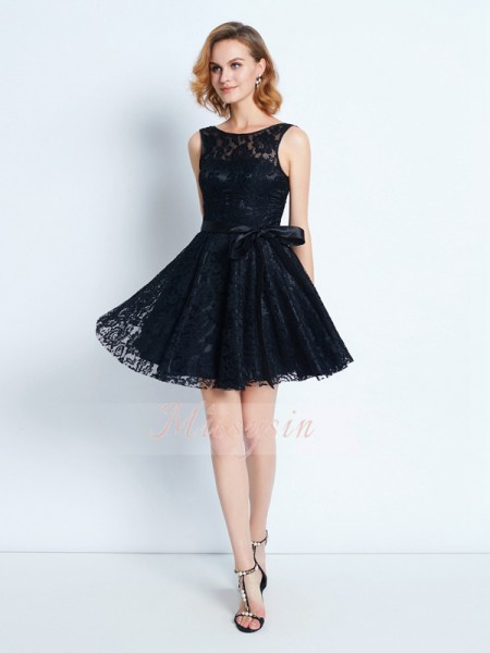 A-Line/Princess Scoop Short/Mini Lace Sleeveless Sash/Ribbon/Belt Dresses