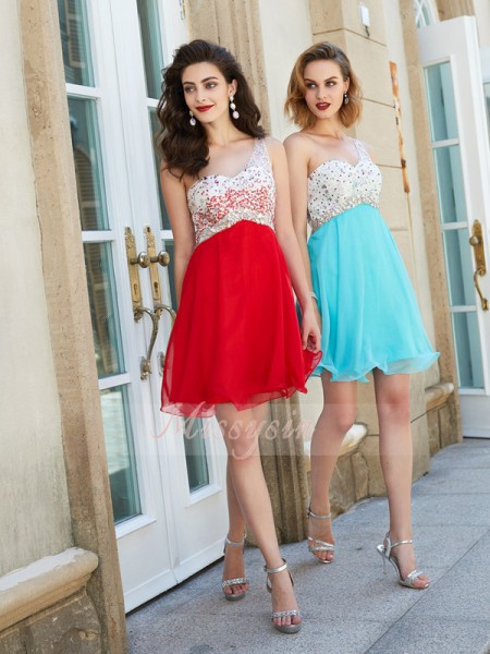 A-Line/Princess One-Shoulder Short/Mini Chiffon Sleeveless Beading Dresses