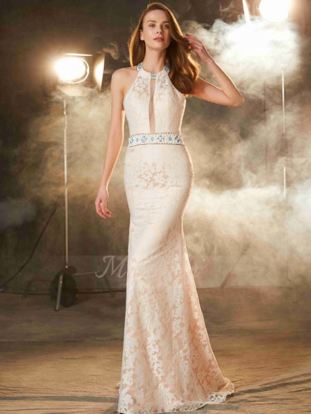 Sheath/Column Floor-Length Halter Lace Sleeveless Dresses