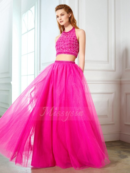 A-Line/Princess Floor-Length Halter Net Sleeveless Beading Dresses