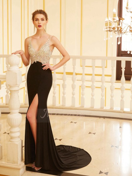Sheath/Column Sweep/Brush Train V-neck Spandex Sleeveless Beading Dresses