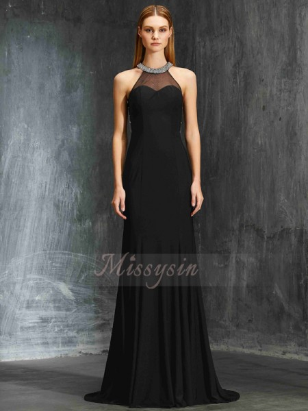 Sheath/Column Sweep/Brush Train Jewel Spandex Sleeveless Beading Dresses