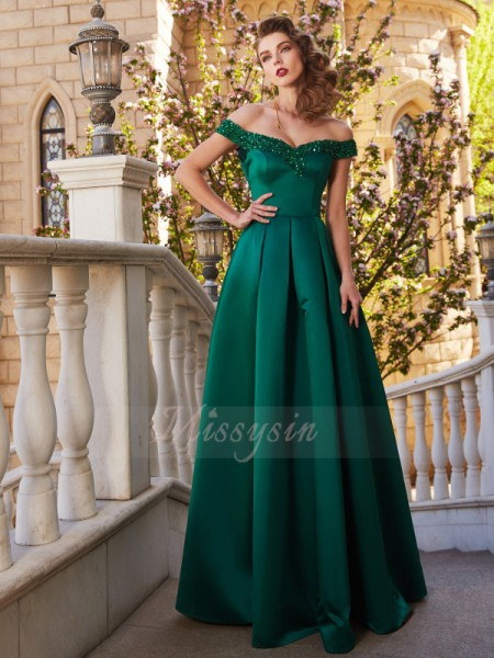 A-Line/Princess Floor-Length Off-the-Shoulder Satin Sleeveless Sequin Dresses