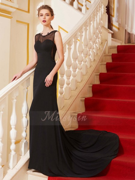 A-Line/Princess Sweep/Brush Train Scoop Spandex Sleeveless Beading Dresses